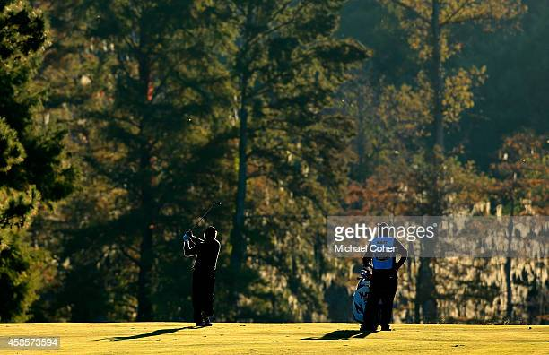 William McGirt of the United States takes his second shot on the second hole during round two of the Sanderson Farms Championships at The Country...