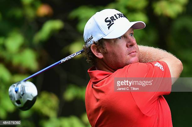William McGirt tees off on the 2nd hole during the first round of the Wyndham Championship at Sedgefield Country Club on August 20, 2015 in...