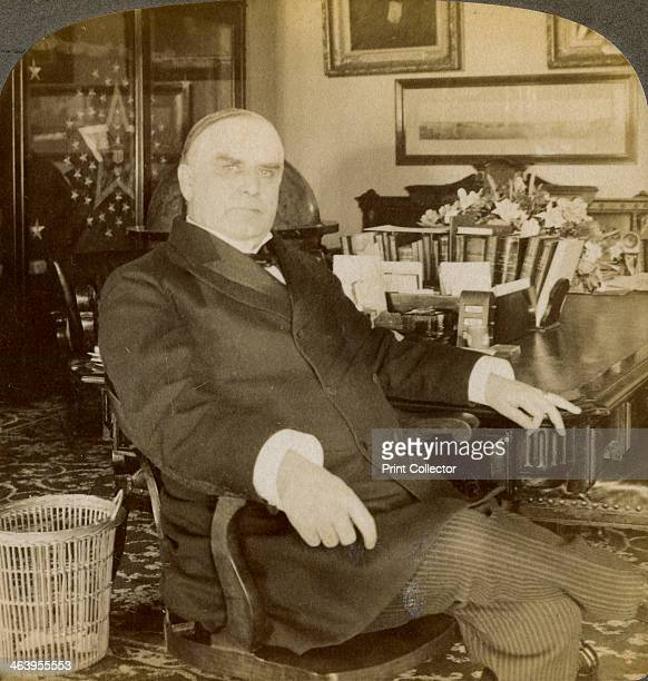William McKinley 25th President of the United States 1900 Detail from a stereoscopic card showing President McKinley seated at the head of the...