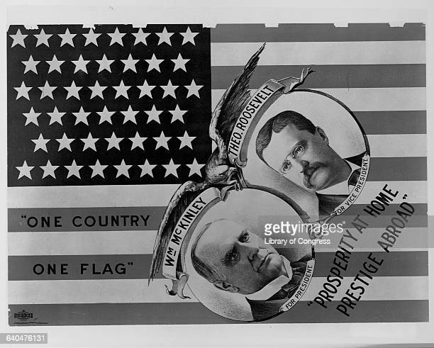 William McKinley campaign poster promotes American unity, prosperity, and international prestige.