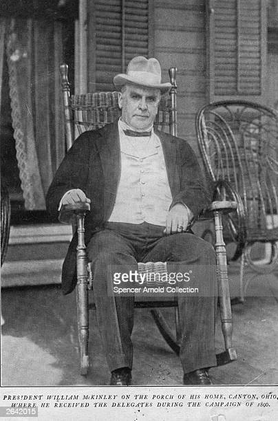 William McKinley the 25th President of the United States on the porch of his home in Canton Ohio During the 1896 election McKinley campaigned from...