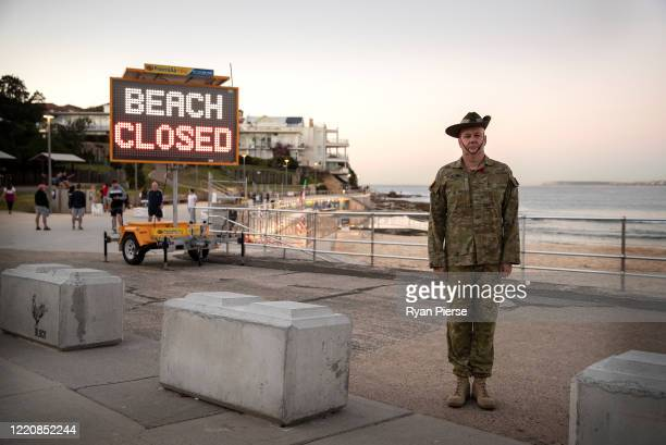 William McMaugh poses after a Anzac Day Dawn Service outside North Bondi RSL Club at Bondi Beach on April 25, 2020 in Sydney, Australia. Traditional...