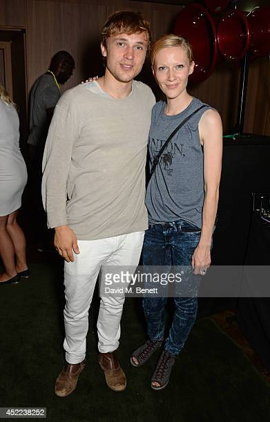 William Moseley and BLAG cofounder Sarah Edwards attend the official launch of the BLAG clothing label at The Club at Cafe Royal on July 16 2014 in...