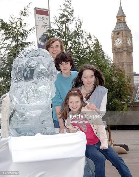 William Moseley Skandar Keynes Anna Popplewell and Georgia Henley alongside a lifesize ice sculpture of Aslan