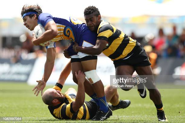 William Ngatai of Bay of Plenty charges forward against Taranaki during the TECT National Sevens tournament at Tauranga Domain on December 15 2018 in...