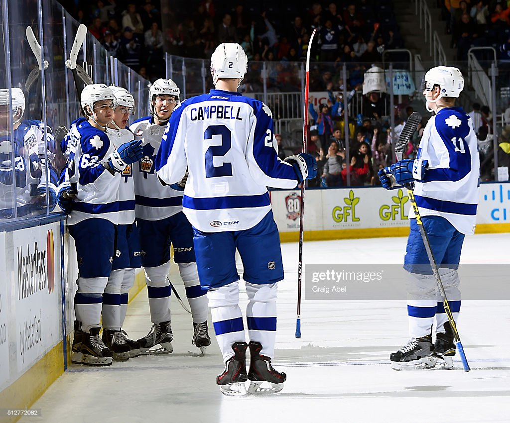 William Nylander #62 celebrates his goal with Andrew Campbell #2, Rinat Valiev #61 and Zach Hyman #11 of the Toronto Marlies during AHL game action against the Binghamton Senators on February 24, 2016 at Ricoh Coliseum in Toronto, Ontario, Canada.