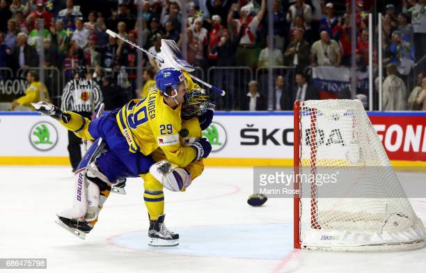 William Nylander of Sweden celebrate victory with team mate Henrik Lundqvist after the 2017 IIHF Ice Hockey World Championship Gold Medal game Canada...
