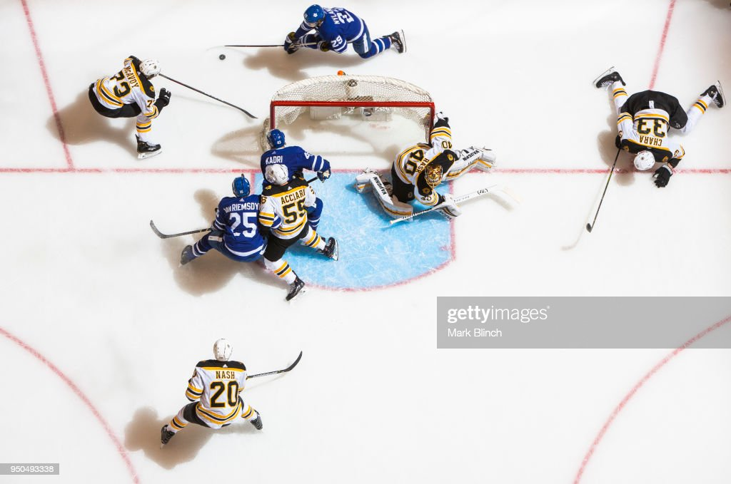 William Nylander #29 of the Toronto Maple Leafs carries the puck behind the net of Tuukka Rask #40 of the Boston Bruins in Game Six of the Eastern Conference First Round during the 2018 NHL Stanley Cup Playoffs at the Air Canada Centre on April 23, 2018 in Toronto, Ontario, Canada. Also seen are Charlie McAvoy #73, Zdeno Chara #33, Noel Acciari #55, and Riley Nash #20 of the Boston Bruins and James van Riemsdyk #25 and Nazem Kadri #43 of the Toronto Maple Leafs.