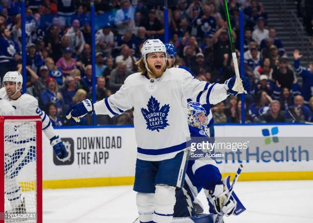 William Nylander of the Toronto Maple Leafs celebrates a goal against goalie Andrei Vasilevskiy of the Tampa Bay Lightning during the second period...