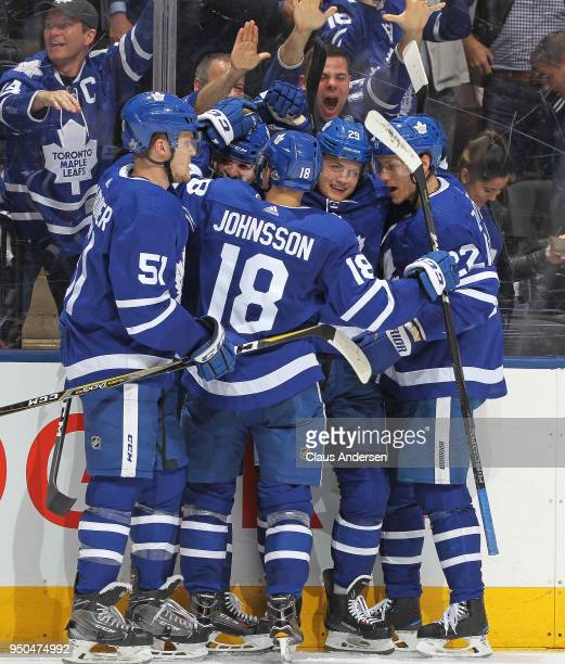 William Nylander of the Toronto Maple Leafs celebrates a goal against the Boston Bruins in Game Six of the Eastern Conference First Round in the 2018...