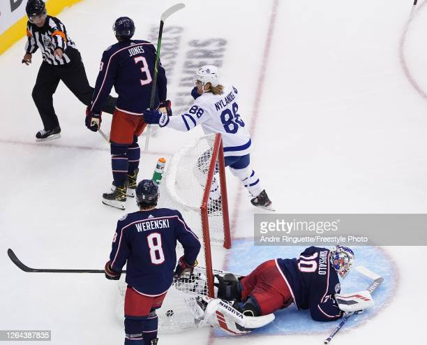 William Nylander of the Toronto Maple Leafs celebrates after he scores a goal past Joonas Korpisalo of the Columbus Blue Jackets during the second...