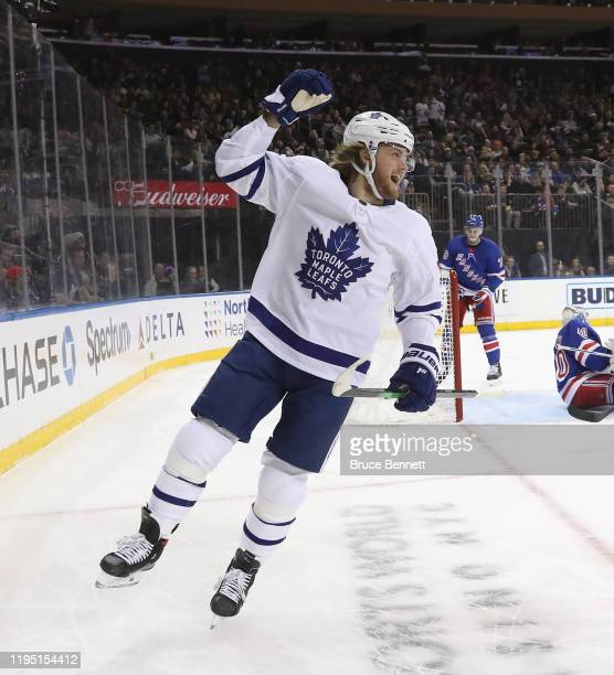 William Nylander of the Toronto Maple Leafs celebrates his goal at 11:52 of the first period against Alexandar Georgiev of the New York Rangers at...