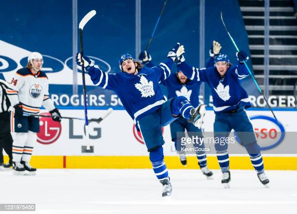 William Nylander of the Toronto Maple Leafs celebrates his goal against the Edmonton Oilers during the third period at the Scotiabank Arena on March...