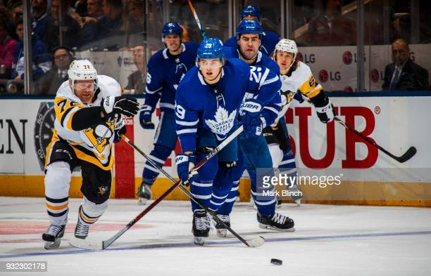 William Nylander of the Toronto Maple Leafs skates against Patric Hornqvist of the Pittsburgh Penguins during the second period at the Air Canada...