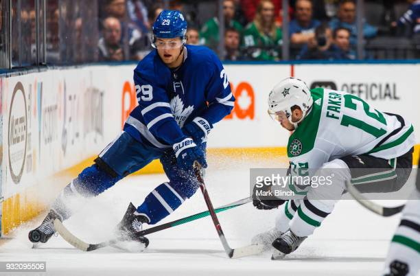 William Nylander of the Toronto Maple Leafs skates against Radek Faksa of the Dallas Stars during the first period at the Air Canada Centre on March...
