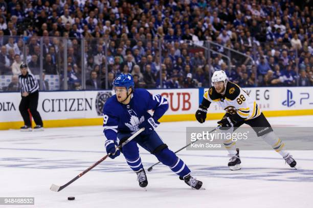 William Nylander of the Toronto Maple Leafs skates with the puck against the Boston Bruins in Game Three of the Eastern Conference First Round during...