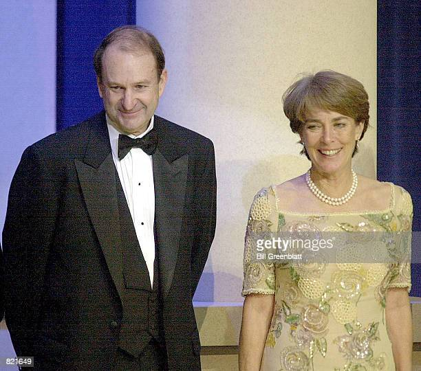 William O DeWitt Jr with wife Katharine stands on stage at the Florida State Inaguration Ball in Washington DC January 20 2001 DeWitt Jr who...