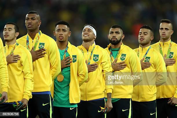 William of Brazil Walace of Brazil Gabriel Jesus of Brazil Neymar of Brazil Gabriel Barbosa of Brazil Rafinha of Brazil and Luan of Brazil celebrate...