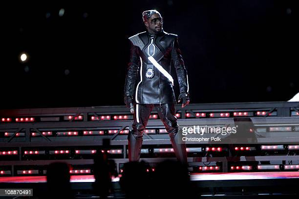 william of The Black Eyed Peas performs during the Bridgestone Super Bowl XLV Halftime Show at Dallas Cowboys Stadium on February 6 2011 in Arlington...