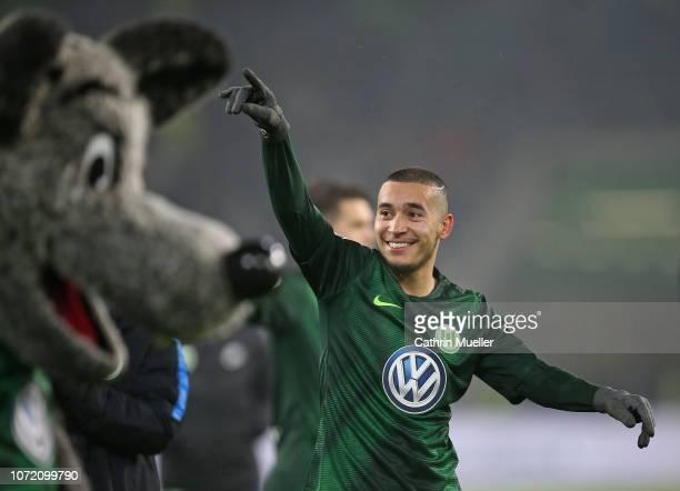 William of VfL Wolfsburg celebrates after winning the Bundesliga match between VfL Wolfsburg and RB Leipzig at Volkswagen Arena on November 24 2018...
