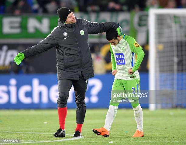 William of Wolfsburg looks dejected at the end of the Bundesliga match between VfL Wolfsburg and FC Schalke 04 at Volkswagen Arena on March 17 2018...