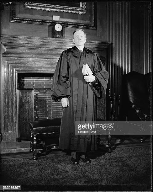 William Orville Douglas, 40 year old successor to retired Justice Louis D Brandeis, donned the robes of an associate Justice of the Supreme Court and...