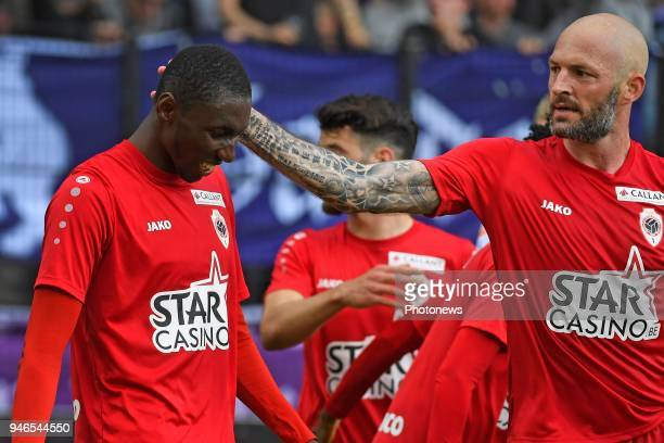 William Owusu Acheampong midfielder of Antwerp FC celebrates scoring a goal with teammates during the Jupiler Pro League play off 2 match between...