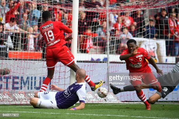 William Owusu Acheampong midfielder of Antwerp FC scores a goal during the Jupiler Pro League play off 2 match between Royal Antwerp FC and Beerschot...