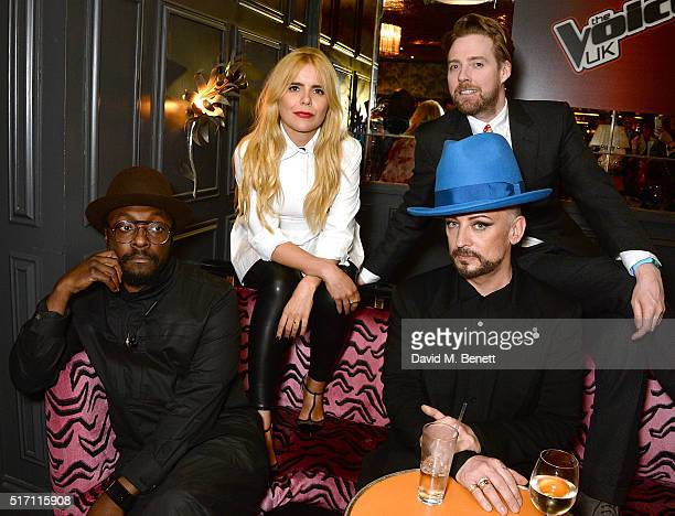william Paloma Faith Boy George and Ricky Wilson attend The Voice UK Open Mic Night at The Scotch of St James on March 23 2016 in London England