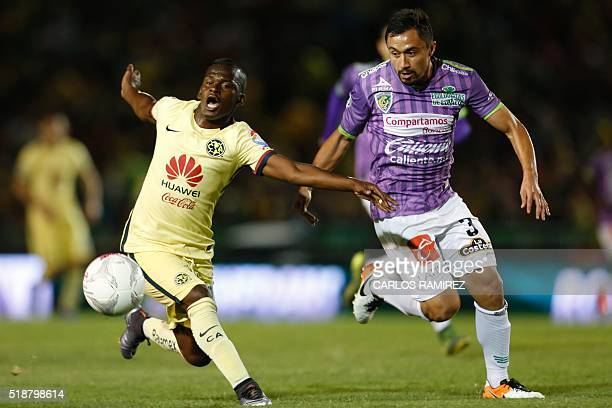 William Paredes of Jaguares vies for the ball with Darwin Quintero of America during their Mexican Clausura tournament football match against...