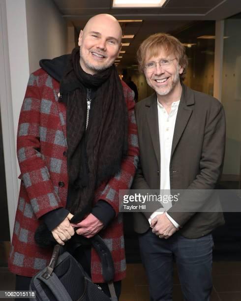 William Patrick Corgan of Smashing Pumpkins and Trey Anastasio of Phish visit the SiriusXM Studios on November 15 2018 in New York City