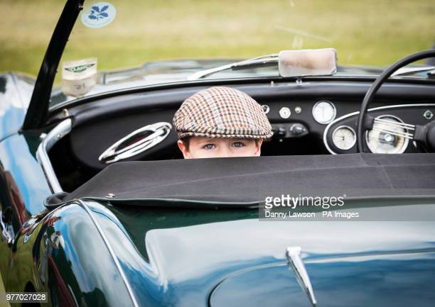 William Pearson peers out from a car during the Classic Car amp Motor Show at Castle Howard in Yorkshire