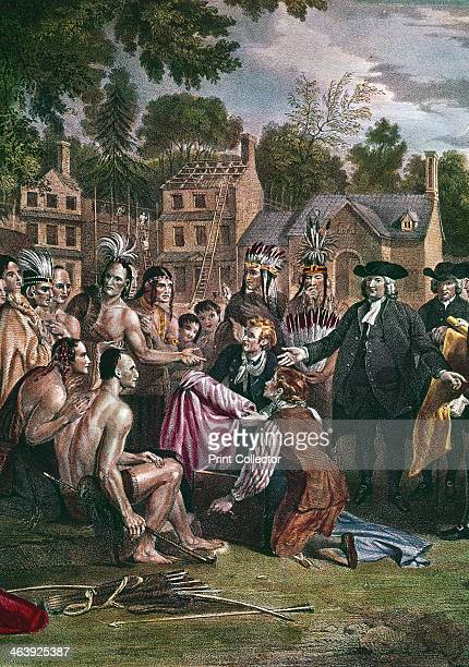 William Penn English Quaker colonist treating with Native North Americans on the site of the city of Philadelphia 1682 Penn founded Philadelphia the...
