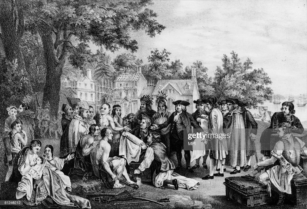 1682, William Penn negotiating with Native Indians for the possession of land he later named Pennsylvania.