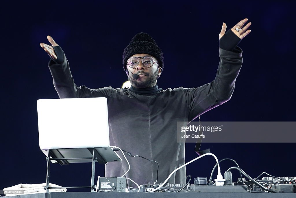 will.i.am performs a DJ set to celebrate the grand opening of 'Parc Olympique Lyonnais' stadium following the French Ligue 1 match between Olympique Lyonnais (OL) and Troyes ESTAC at Parc Olympique Lyonnais on January 9, 2016 in Lyon, France.