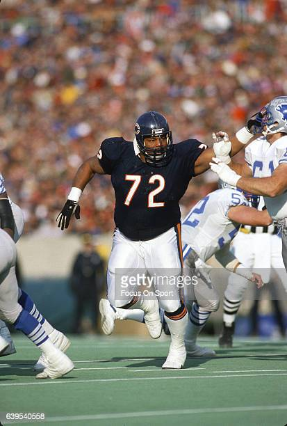 William Perry of the Chicago Bears in action against the Detroit Lions during an NFL football game circa 1987 at Soldier Field in Chicago Illinois...
