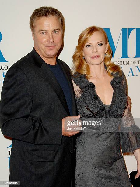William Petersen and Marg Helgenberger during The Museum of Television Radio Honors Leslie Moonves and Jerry Bruckheimer Arrivals at Beverly Wilshire...