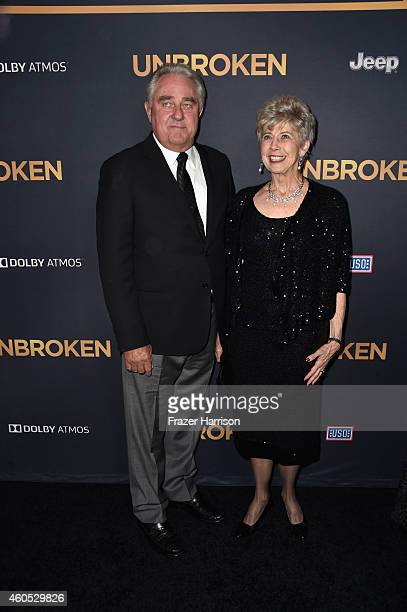 William Pitt and Jane Pitt parents of Brad Pitt arrive at the Premiere Of Universal Studios' Unbroken at TCL Chinese Theatre on December 15 2014 in...