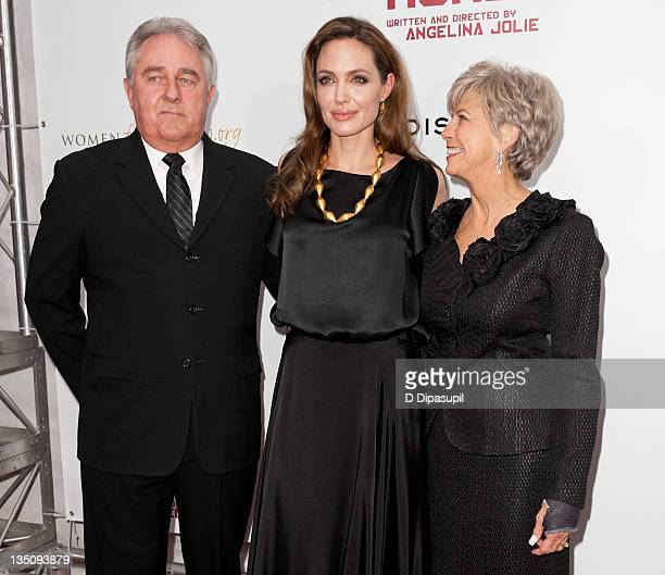 William Pitt Angelina Jolie and Jane Pitt attend the premiere of In the Land of Blood and Honey at the School of Visual Arts on December 5 2011 in...