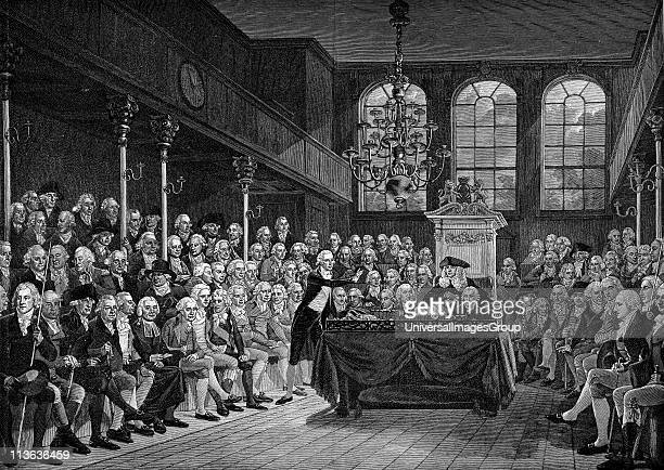 William Pitt the Younger addressing the House of Commons 1793 Engraving after painting by Karl A Hickel
