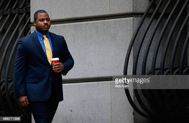 William Porter one of six Baltimore city police officers charged in connection to the death of Freddie Gray earlier in the year walks to a courthouse...