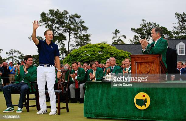 William Porter Payne Chairman of Augusta National claps for Jordan Spieth of the United States after Spieth won the 2015 Masters Tournament at...