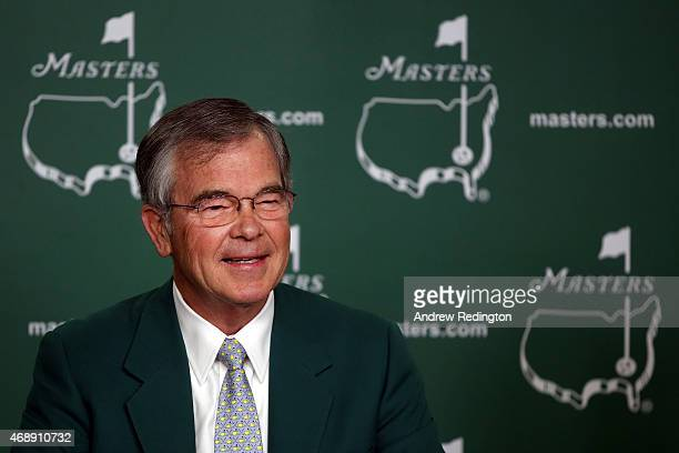William Porter Payne Chairman of the Augusta National Golf Club chats with the media prior to the start of the 2015 Masters Tournament at Augusta...
