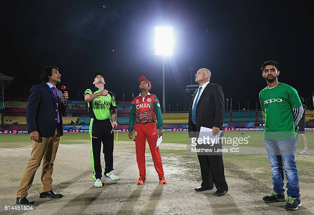 William Porterfield Captain of Ireland and Sultan Ahmed Captain of Oman pictured during the coin toss ahead of the ICC Twenty20 World Cup match...