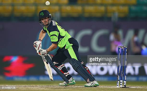 William Porterfield Captain of Ireland edges the ball towards the boundary during the ICC Twenty20 World Cup match between Ireland and Oman at the...