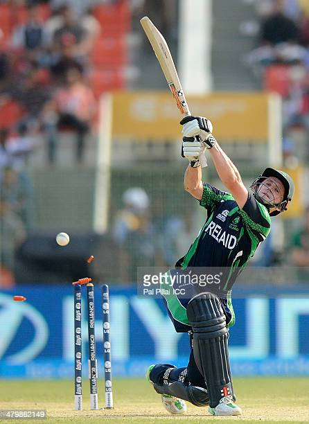 William Porterfield captain of Ireland gets bowled out by Ahsan Malik during the ICC T20 World Cup match between Ireland and Netherlands played at...
