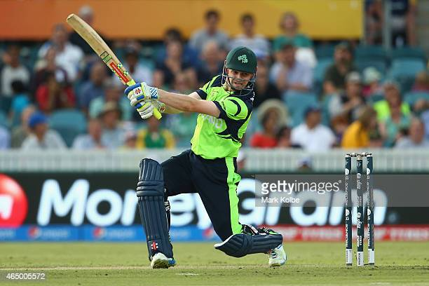 William Porterfield of Ireland bats during the 2015 ICC Cricket World Cup match between South Africa and Ireland at Manuka Oval on March 3 2015 in...
