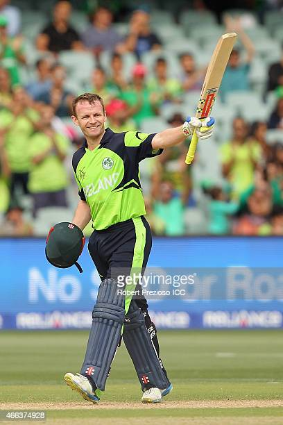 William Porterfield of Ireland celebrates his century during the 2015 ICC Cricket World Cup match between Pakistan and Ireland at Adelaide Oval on...
