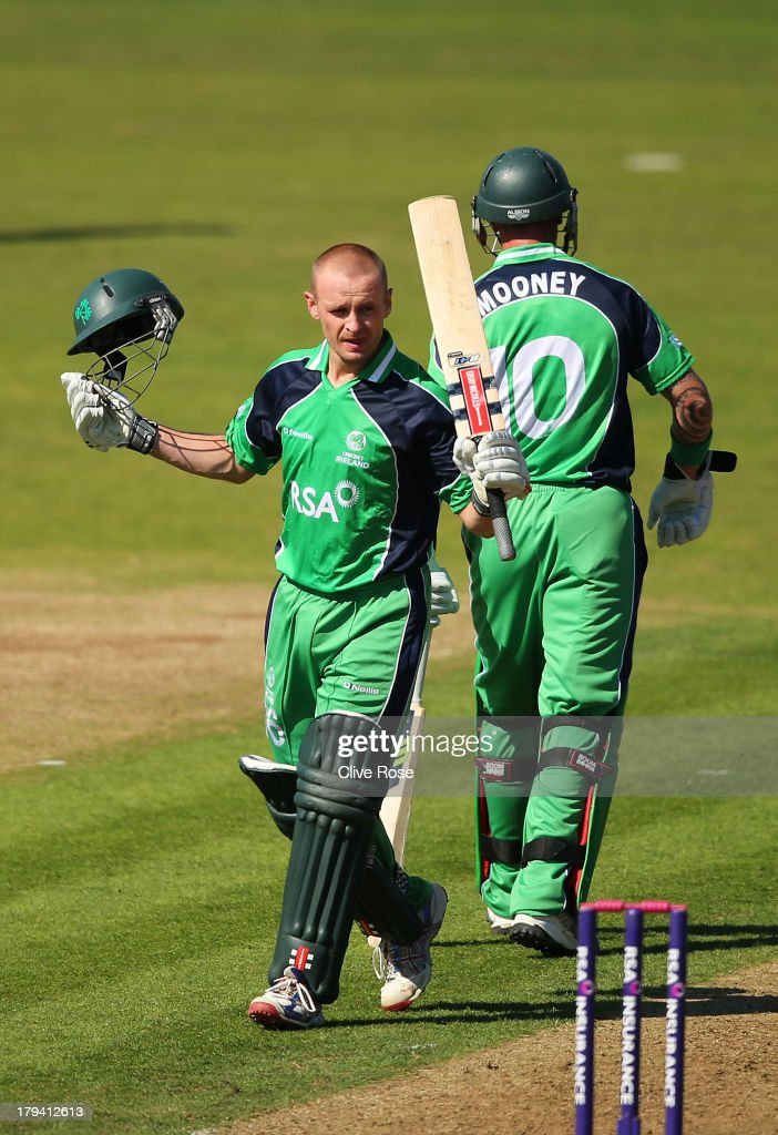 William Porterfield of Ireland celebrates his century during the RSA Challenge One Day International match between Ireland and England on September 3, 2013 in Malahide, Ireland.