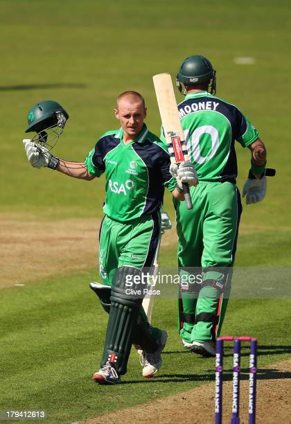 William Porterfield of Ireland celebrates his century during the RSA Challenge One Day International match between Ireland and England on September 3...